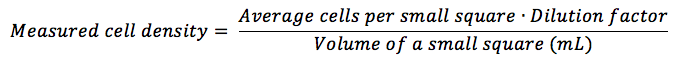 hemocytometer equation cell density